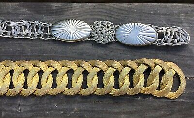 2 Old Vintage Metal Wire Mesh Work Belts Silver & Gold AF