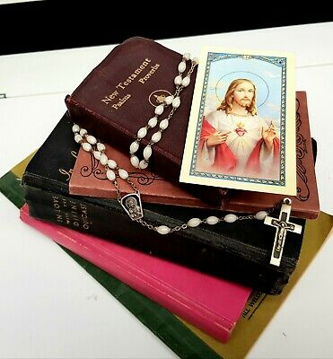 5 Old Religious Books and Rosary, Italy