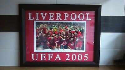 """LIVERPOOL F.C.-2005 CHAMPIONS LEAGUE WINNERS FRAMED PICTURE-18 1/2"""" w x 14 1/2""""h"""