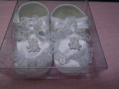 Girls White Satin Baby Shoes Booties
