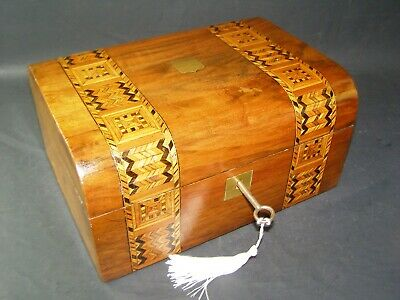 Antique Domed Tunbridge Banded Box Working Lock & Key c1870 Brass Center Piece
