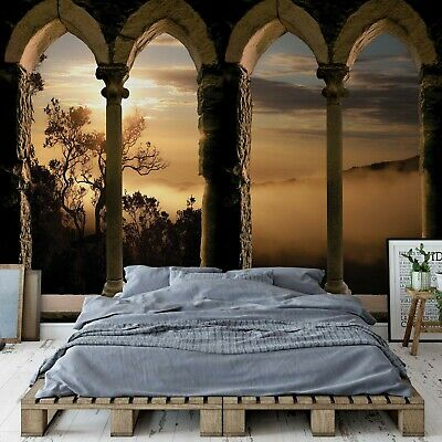 Mountain Sunrise Stone Archway View Wall Mural Fleece Easy-Install Paper