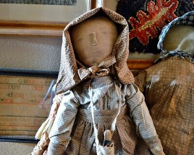 Primitive Handmade Folk-Art Cloth Prairie Doll 25""