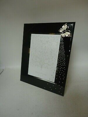 """Black Glass Butterfly Photo Picture Frame 5"""" x 7"""""""