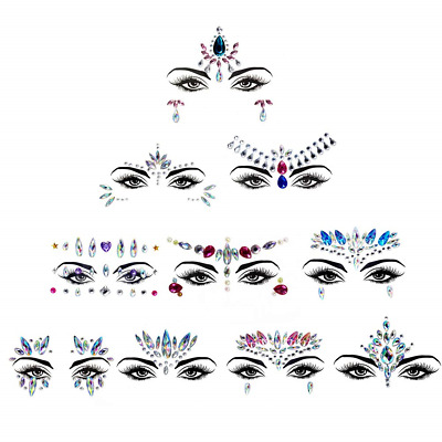 10 Sets Face Gems,Crystal Sticker Face Jewelry Glitter Rhinestone Festival for