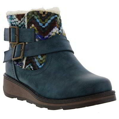 Heavenly Feet Kassy Womens Ladies Blue Short Wedge Chelsea Ankle Boots Size 4-8