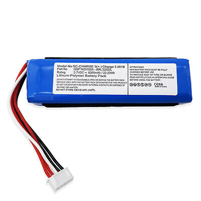 New 6000mAh Upgrade Battery for GSP1029102A JBL Charge 3 2016 Version 22.2Wh