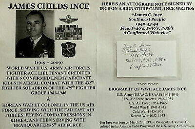 Wwii Us Army Air Forces 6 Kill Fighter Ace Korean War Colonel Autograph Signed !