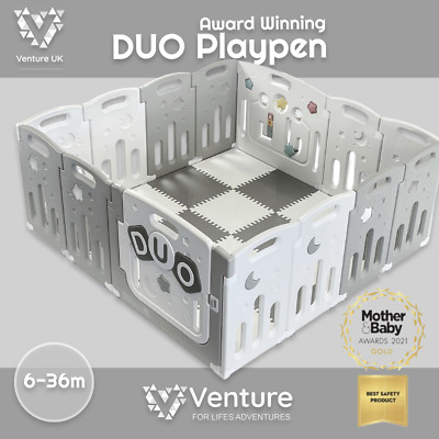 Venture All Stars Duo Baby Playpen Grey Including Fitted Mats
