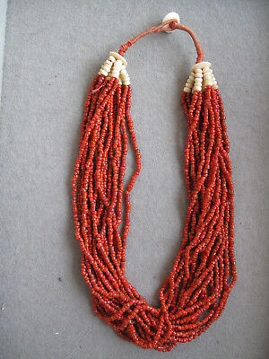 Naga Necklace with Small Red Glas Beads Thailand