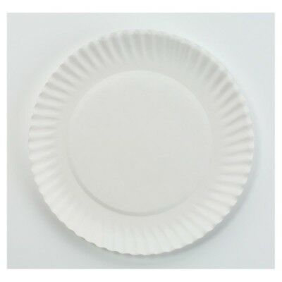 Uncoated Paper Plates 6 Inch 1000 Custodia White Round Lightweight Multiple Use