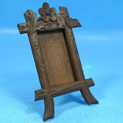 Antique Swiss Black Forest Carved DESK/TABLE PHOTO FRAME Alpenrose Brienz c1920