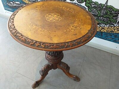 Antique WINE occasional side WALNUT INLAID Victorian circular tripod table