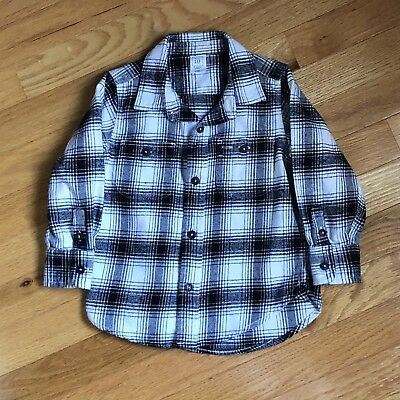 Gap Toddler Boys Black & White Plaid Flannel Shirt - 2T, Excellent Condition