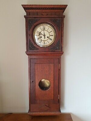 Gustav becker wall clock - good working order, individual old oak case