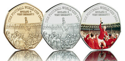 3 FOOTBALL WORLD CUP 1966 Silver, 24ct Gold & Full Colour Commemoratives. NEW!