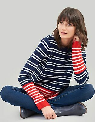 Joules Womens Seaham Chenille Jumper in NAVY Cream RED Size 14