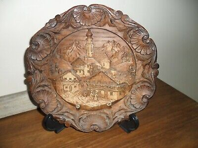 Antique Austrian Tirol Black Forest Wood Wall Plate. Good condition.