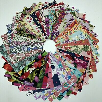 "Assorted Floral pre cut charm pack 5"" squares 100% cotton fabric quilt lot"