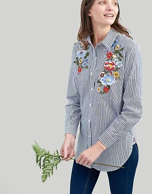 Joules Womens Laurel Embroidered Shirt in NAVY STRIPE Size 8