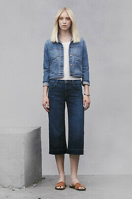 J BRAND Anthropologie Liza Mid-Rise Crop Culotte Wide Leg Jean Virtue $238 sz 27