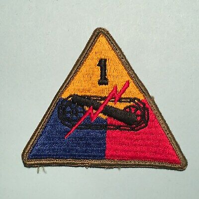 WWII US Army 1st Armored Div. Patch - Early Merrowed Border Blackback Variation