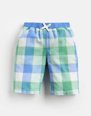 Joules Boys Huey Linen Mix Woven Short 1 12 Yr in BLUE GREEN GINGHAM Size 5yr