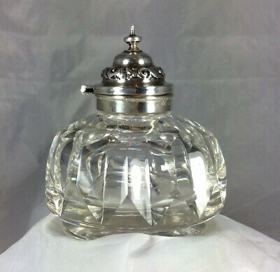 Antique English Georgian Hm Silver Mounted/Glass Inkwell 'John Clements' 1861