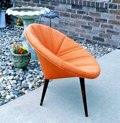 Vintage Mid Century Modern Clam Shell Orange Slice Saucer Chair
