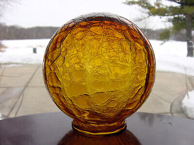 "ViNTaGe Amber CRaCKLe ArT DeCo GLaSs Globe Lamp Light Shade for 3 1/8"" fitter"