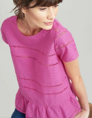 Joules Womens Primrose Broderie Jersey Mix Peplum Top in PINK Size 16