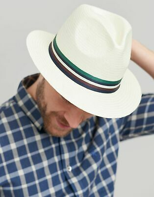 Joules Mens Burnham Woven Hat in CREAM STRIPE Size L
