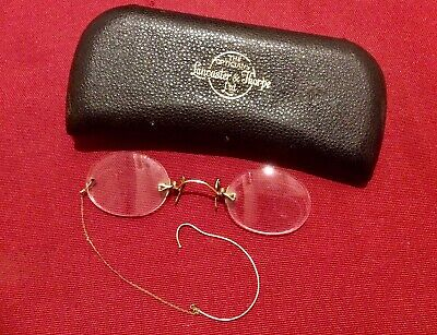 Antique Victorian Pince Nez Spectacles,Rolled Gold Glasses,Chain,Case,Steampunk