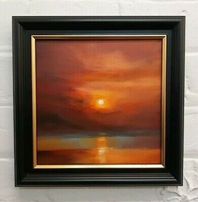 Original Oil Painting, Snug, 20x20cm Canvas Impressionist Seascape Landscape