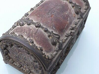 Antique 17Th / 18Th Century French ? Leather & Ormolu Small Jewlry Casket Box