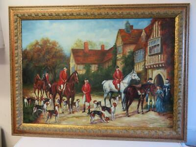 vintage old PAINTING oil horses dogs meeting place
