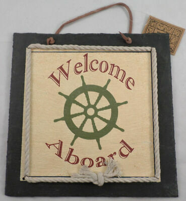 Welcome Aboard Captain'S Wheel Nautical Home Decor Sign Wall Plaque Slate