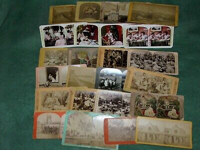 24 Stereoview Cards–Vintage People, Buildings, Nature, (4 Color)