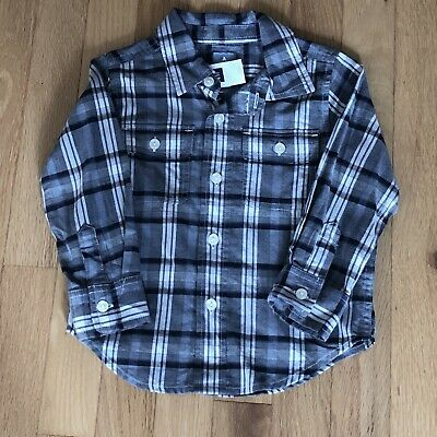 Gap Toddler Boys Lightweight Gray Plaid Flannel Shirt, 2T, New With Tags