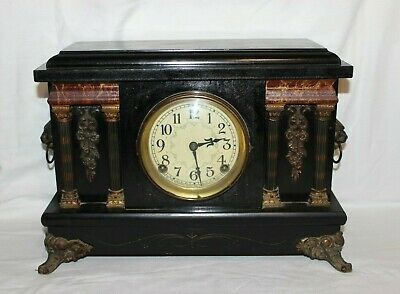 Vintage Sessions 8 Day Mantle Clock w/ Cathedral Gong Faux Marble w/Key