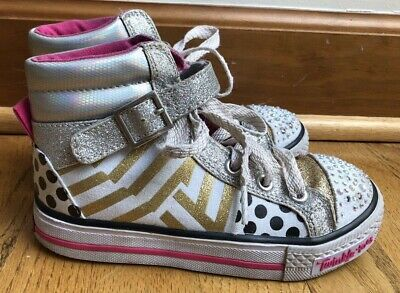Skechers Shoes Twinkle Toes Rare Limited Edition gold  High Tops Light-Up Sz 12
