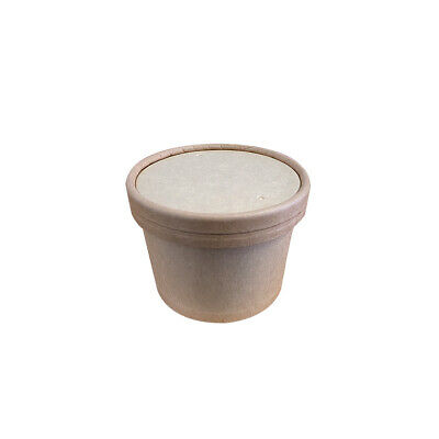 250x Food Cup w Lid 8oz/237mL Kraft Brown Disposable Hot Cold Container Takeaway