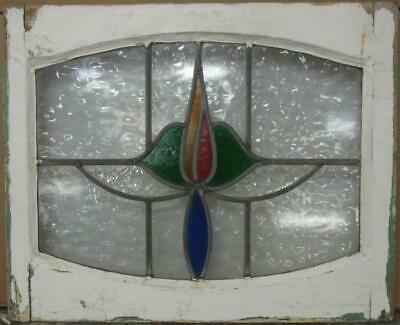 "MIDSIZE OLD ENGLISH LEADED STAINED GLASS WINDOW Pretty Arched Floral 24"" x 19.5"""
