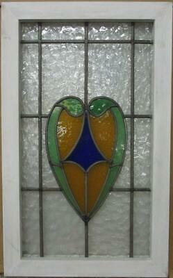 "MIDSIZE OLD ENGLISH LEADED STAINED GLASS WINDOW Nice Abstract Heart 17"" x 27.75"""