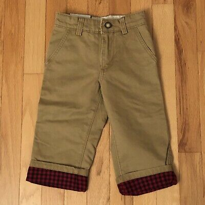 Gap Toddler Boys Brown Plaid Lined Adjustable Waist Pants, 2T, New With Tags