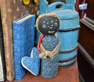 Primitive Handmade Folk-Art Black Peg Doll