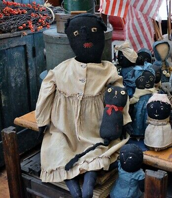 "Large 28"" Handmade Primitive Black Rag Doll"