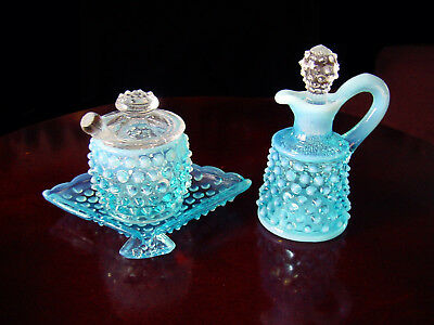 ViNTaGe FENTON BLuE OpaLeSceNT HobNaiL ArT GLaSs Mustard Jar Cruet & Fan Ashtray