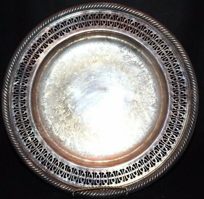 WM Rogers #811 SilverPlate Silver Plate Round Ornate Serving Plate Tray 10-1/4""