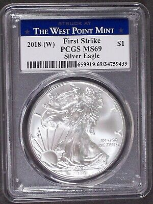 2018-(W) American Silver Eagle West Point Mint First Strike PCGS MS 69    439